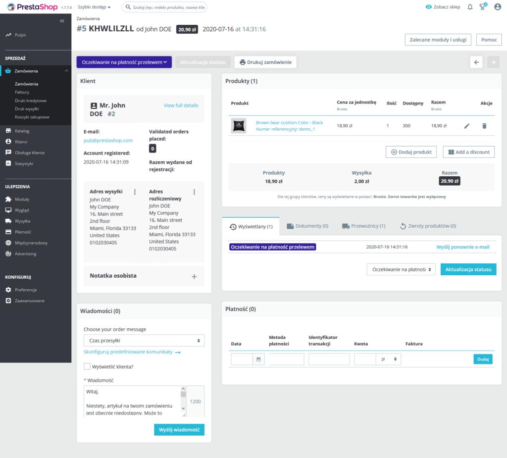 PrestaShop - przebudowana strona obsługi zamówień